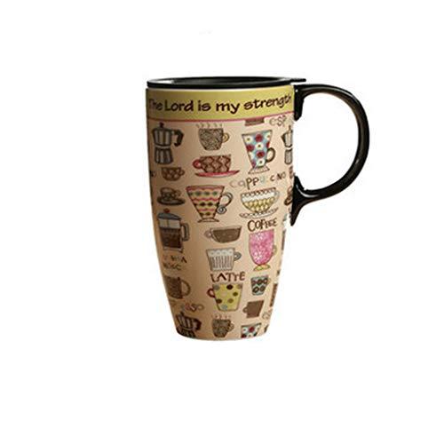 Große Kapazität Becher Tasse Keramik Mit Deckel Einfache Kaffee Kreative Frühstückstasse Haushalt Wasser Tasse Liebhaber