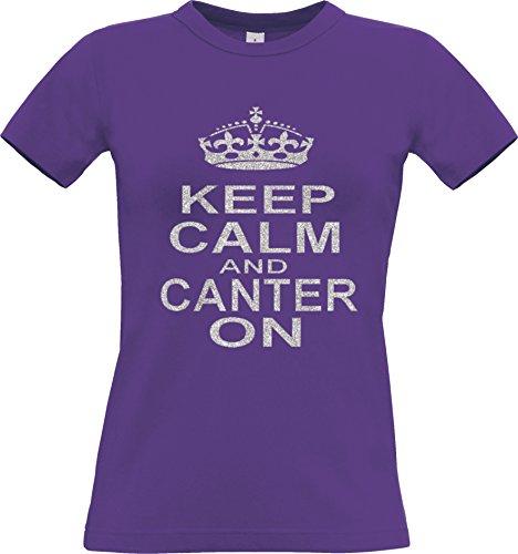Oops Outlet Damen t-shirt mit Aufdruck Silber rosa und glitzernden \'KEEP CALM AND CANTER ON\'