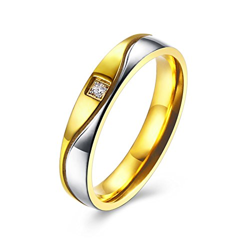 AMDXD Paarringe Bicolor Welle Design Zirkonia Gold Silber Titan Damenring Größe 57 (18.1)