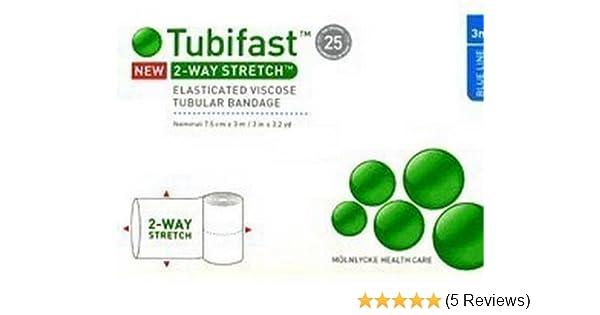 tubifast blue line 7 5cm x 3m(new) 2-way streatch elasticated viscose  tubular bandage for dressing retention blue line 3m - 7 5cm x 3m:  amazon co uk: beauty