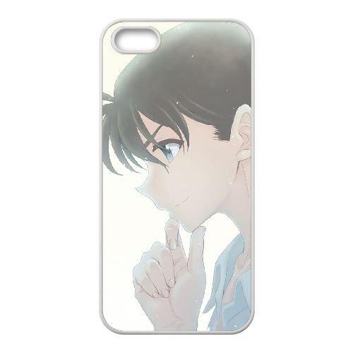 Detective Conan coque iPhone 5 5S Housse Blanc téléphone portable couverture de cas coque EBDXJKNBO10094