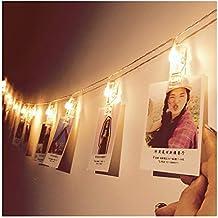 Glamouric - Foto Clips Cadena de Luces - 16 LEDs Adorno Guirnalda Luminosa Luces de Navidad