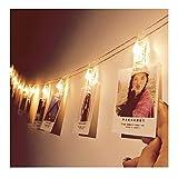Guirlande Lumineuse avec Pince à Photo 16 LEDs 4,5 M Alimenté par Batterie pour Fêtes Noël Accrocher Photos, Notes, Illustrations, Mémos