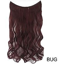PrettyWit 24 pulgadas pelucas sintéticas rizadas Extensiones de pelo de las mujeres peluca alambre invisible sin clips (borgoña)