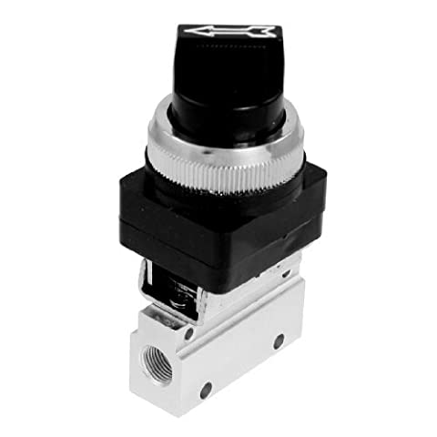 Water & Wood Black Rotary Selector 2 Position 3 Way Pneumatic Air Mechanical Valve