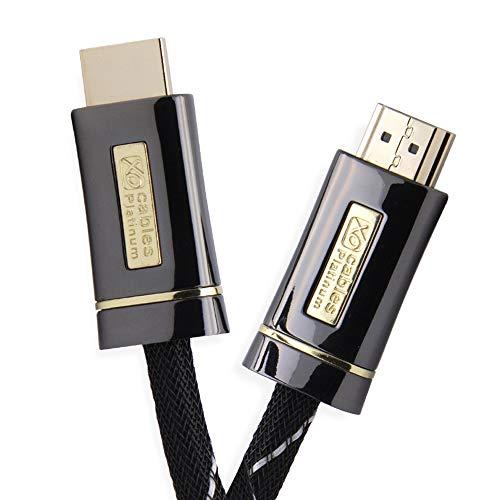 XO Platinum 12m High Speed HDMI Kabel (HDMI Typ A, HDMI 2.1/2.0b/2.0a/2.0/1.4) - 4K, 3D, UHD, ARC, Full HD, Ultra HD, 2160p, HDR - für PS4, Xbox One, Wii, Sky Q, LCD, LED,UHD, 4k Fernsehern - Schwarz 12 Hdmi-video-kabel