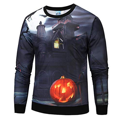 (MIRRAY Damen Halloween Kürbis Geist 3D Print Party Langarm Hoodie Top Bluse)
