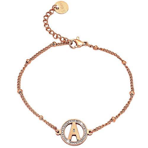 Beloved ❤️ Bracciale da donna acciaio e cristalli con iniziale white gold o rose gold lettera alfabeto misura regolabile chiusura moschettone