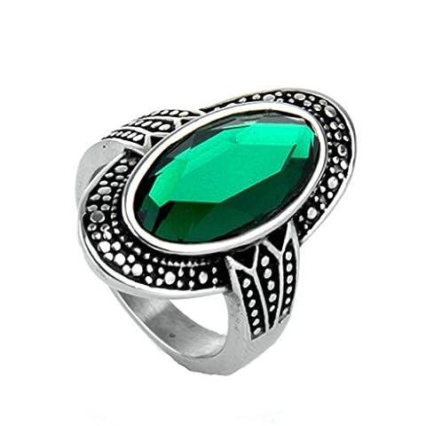 Bishiling Modeschumck Damen Ring Edelstahl Oval Zirkonia Opal Grün Partnerring Silberring Ringgröße 65 (20.7)