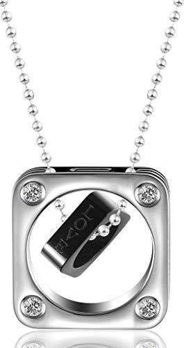 Beydodo Edelstahl Halskette für Herren Quadrat Love Words Zirkonia Anhänger Kette Männer ()