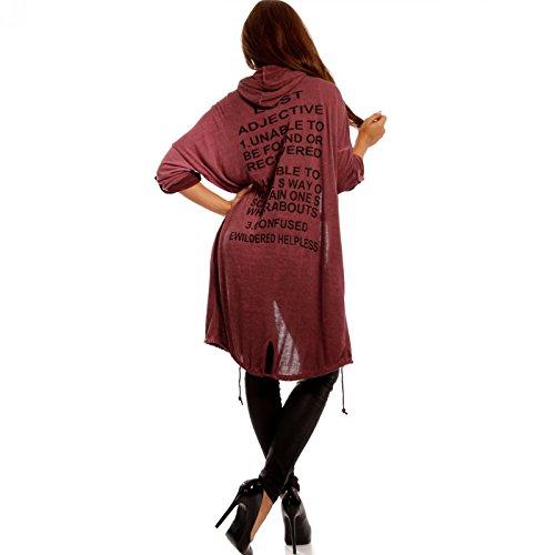 Damen Casual Cardigan mit Kapuze Loose-Fit Schriftzug am Rücken Bordeaux