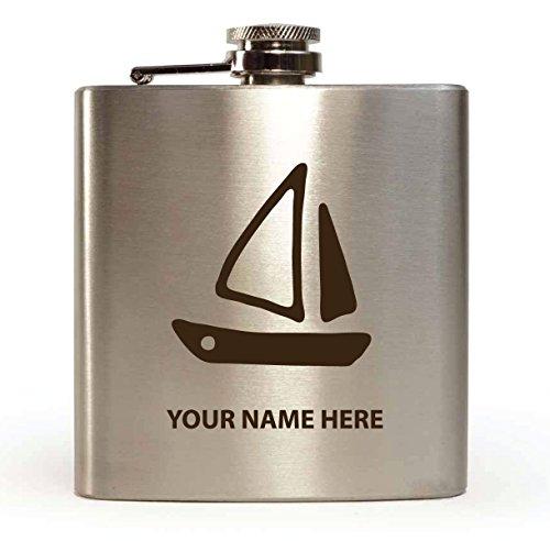 Segelboot Design–personalisierbar Flachmann (mit Geschenk-Box und Trichter) (Segelboot Laser)