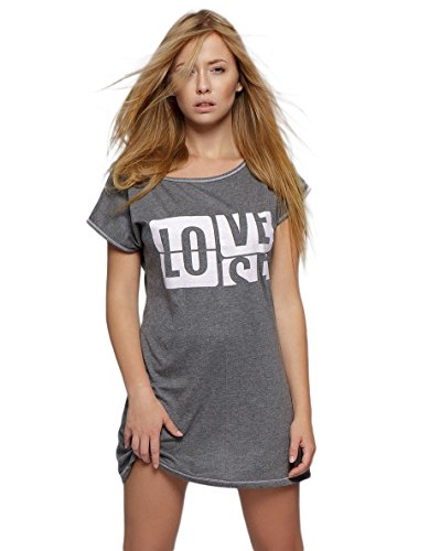 Baumwoll-print-nachthemd (SENSIS angesagtes und hochwertiges Baumwoll-Nachthemd Sleepshirt mit modischem Print, grau, Gr. S (36))