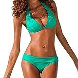 Mosstars Costumi da Bagno Donna Bikini Set Intero con Allacciatura al Collo Costume Donna Mare Due Pezzi Brasiliana Sexy Push up Reggiseno in Velluto Swimwear Balneari con Mutande a Fascia