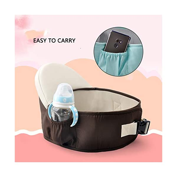 Baby Adjustable Hip Seat Support Comfortable Hip Carrier Belt Carrier Cotton Pocket Hip Carrier Padded Soft Waist Seat Lightweight Soft Waist Stool for Camping Travel Ainomi Safety & Durable Design - Baby hip seat features Velcro fastening and adjustable buckle strap. Sturdy padded belt and soft padded seat to ensuring baby and parent feels comfortable. Ergonomic Design - Baby lightweight waist stool with a seat that tilt 35 degree, keep your baby natural M-type sitting. Round stool avoids causing volgus, to make sure baby grow up healthily. Material - Made of 100% cotton, very soft and comfortable. Our hip seat carrier gives a enough support between baby and parent. 4