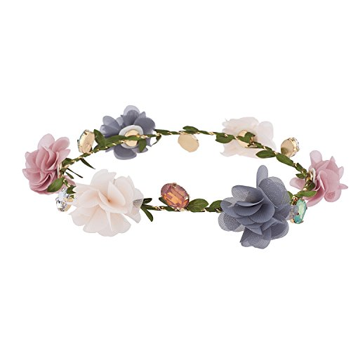 lux accessories multicolor chiffon gioiello garland coachella festival flower crown