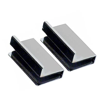 2 x Chrome Plated Glass Door Handles Finger Pulls 1