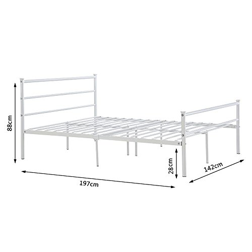 Minifair Double Bed Frame Black Metal Size 4ft6 Bed frame Stylish Sturdy Bed(bed frame only) (White)