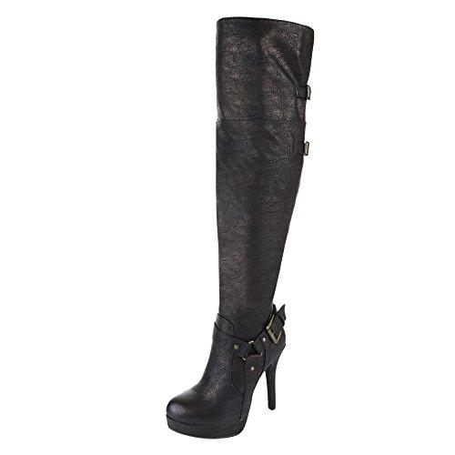 Damen Schuhe, TOOVITAL, STIEFEL, HIGH HEELS OVERKNEE, Synthetik in hochwertiger Lederoptik , Bronze, Gr 37 (Sexy Stiefel)
