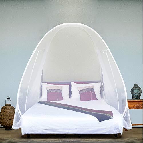 EVEN NATURALS Popup MOSKITONETZ Zelt, großes Mückennetz für Doppelbett, feinste Löcher, Camping Netz, Faltdesign mit Unterseite, 2 Einträge, einfache Installation, Tragetasche, Keine Chemikalien