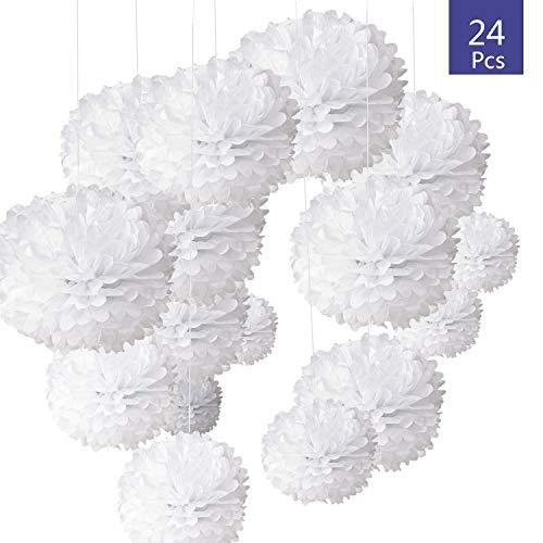 O-Kinee 24pcs Decoration Hochzeits Weiß, Pompons Papier De Soie Pour Décoration de Mariage Fête Baptème Baby Shower