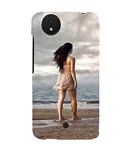 PrintVisa Designer Back Case Cover for Micromax Canvas Android A1 AQ4501 :: Micromax Canvas Android A1 (Lonely Girl Standing On Seaside)