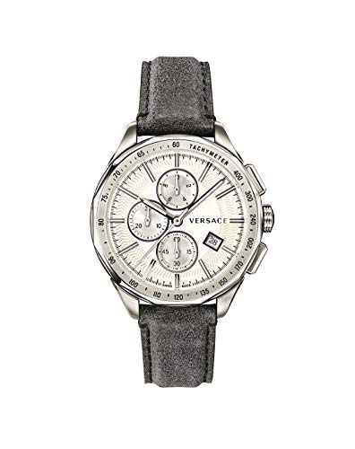 Versace Herren Armbanduhr, Quarz, Edelstahl und Leder, Farbe: Schwarz (Modell: VEBJ00118)