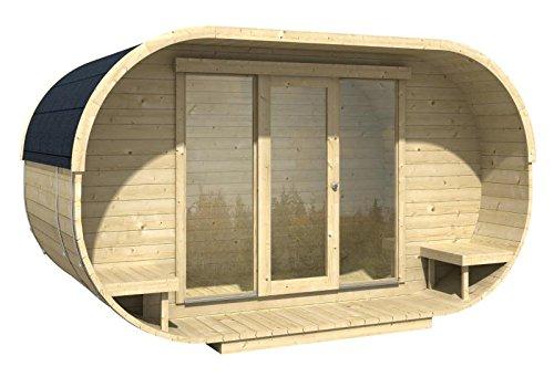 *Blockhaus OVAL OFFICE 405 x 400cm Gartenhaus 28mm Holzhaus Büro*