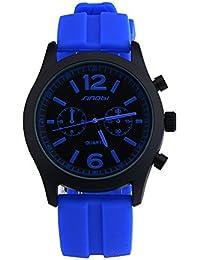 Sinobi relojes de cuarzo azul reloj deportivo Hombres Correa De Silicona Hombre Teenage niños relojes