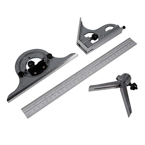 SM SunniMix 12-Zoll Kombinationsquadrat Set Einstellbare Kombination Winkel Lineal Metall Winkelmesser 0-180 Grad