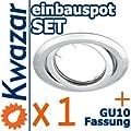 K-19 Einbaustrahler Set Inkl Gu10 230v Fassung - Chrom Poliert Silberglnzend von Kwazar