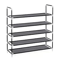 SONGMICS Shoe Rack Standing Storage Organizer 5 Tier for 25 pairs of Shoes 88 x 28 x 91 cm
