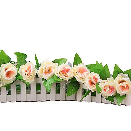 1 String Silk Rosen-Rebe Realistische Garland Hang mit Blättern Künstliche Blumen Pflanzen für Hotel Haus Wedding Partei-Garten Kunsthandwerk Kunst-Dekor - Champagne Farbe