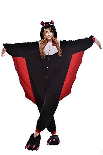 VU ROUL Unisex-Erwachsene Kigurumi Einteiler Cosplay Fledermäuse Kostüm Nachtwäsche Kleid Gr. X-Large, Bats