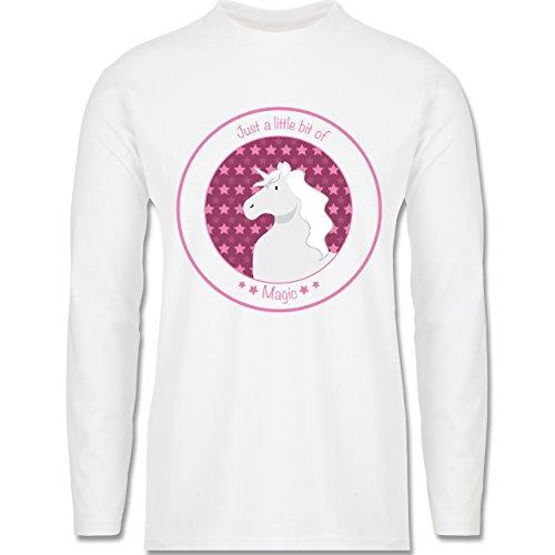 Pferde - Einhorn rosa - Longsleeve / langärmeliges T-Shirt für Herren Weiß