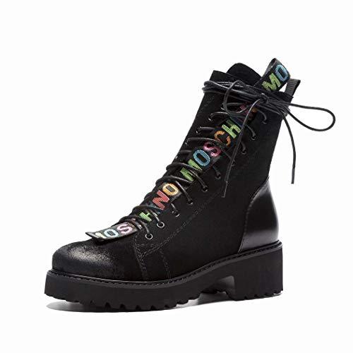MISS&YG Damen Leder Martin Stiefel Layer Lederband Round Head Love Damenschuhe Booties,Black,34 Love Rain Boot