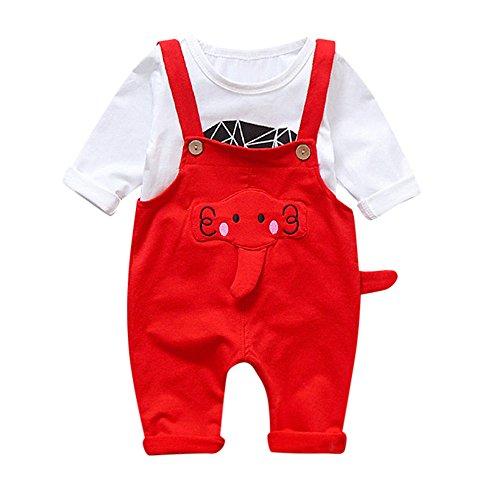 QinMM Camisa + Petos Pantalones Cartoon Lindo bebé