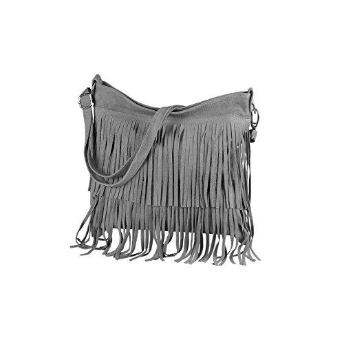 OBC Made in Italy Donna Borsa a tracolla in pelle scamosciata frange borsa a tracolla 32x 30x 5cm (BxHxT) marrone cognac 32x30x5 cm (BxHxT) Grau