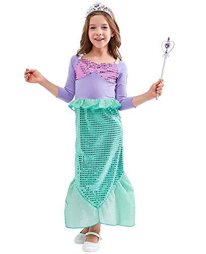 Agaruu Ariel Verkleidung Kostüm Meerjungfrau Fasching mit Tiara Zubehör Gr. 3 Jahre, - Ariel Kostüm Für Kleinkind