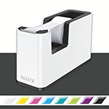 Leitz Tape Dispenser, Heavy Base with Tape, Wow Range, Pearl White/Black