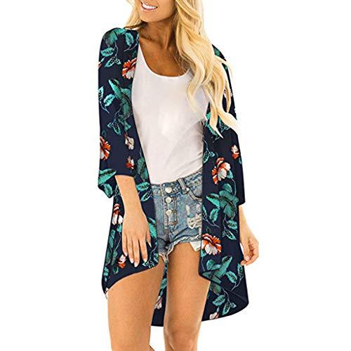 Dhyuen Damenmode Blatt Print Mantel Tops Anzug Bikini Bademode Strand Badeanzug Kittel