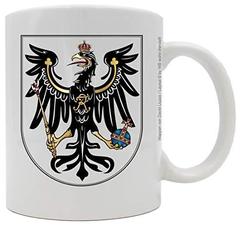 WB wohn trends Tasse mit beidseitigem Motiv ~ Preußen Wappen ~ Farbe: weiß ~ Kaffee-Becher mit Motiv