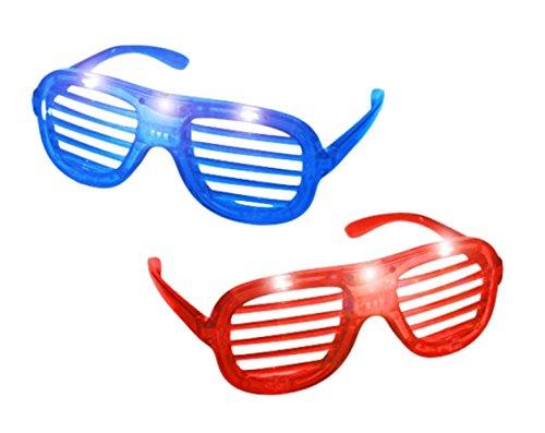 artybrille Pilotenbrille Sonnenbrille Brille Unisex für Fasching und Karneval Kostüm (2x LED Brille) (Las Vegas-led)