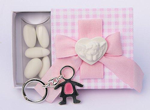 Bomboniera scatolina quadretti rosa con cuoricino angioletto e portachiavi bimba (per urgenze provare a contattare il venditore)