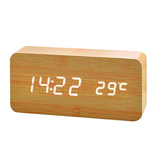 Holz Digital LED Wecker Uhr Soundsteuerung Temperatur Anzeige - Natürliche Weiß , 30mm