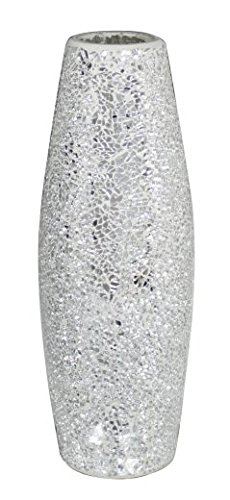 Stylish Modern Silver Sparkle Mosaic Vase Decorative Sculpture Ornament