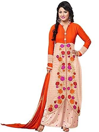 Orange & Peach Georgette Party & Wedding Wear Thread Embroidery Plazo Salwar Suits