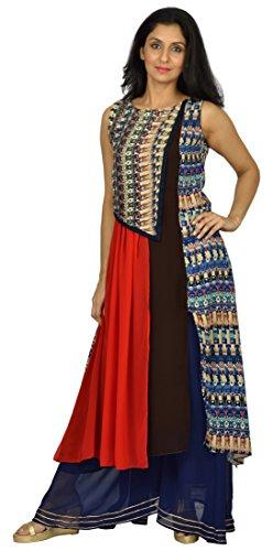 Mirella Women's Rayon & Georgette Achkan Kurta (Multi Color, Medium)