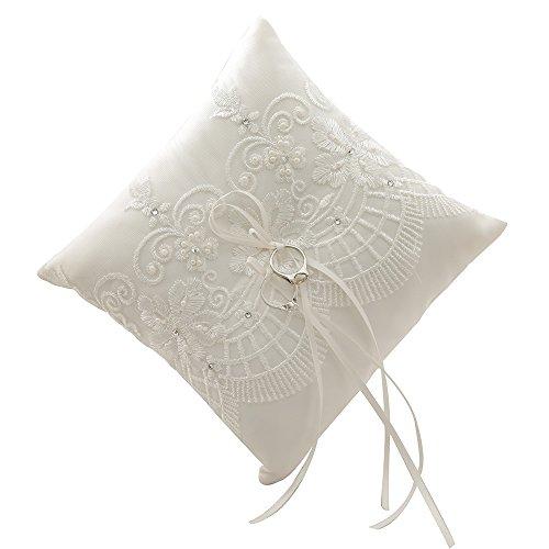 amajoy 19x 19cm, elfenbein satin und Spitze Hochzeit Ring Kissen mit Schleife, RING für den Strand Hochzeit