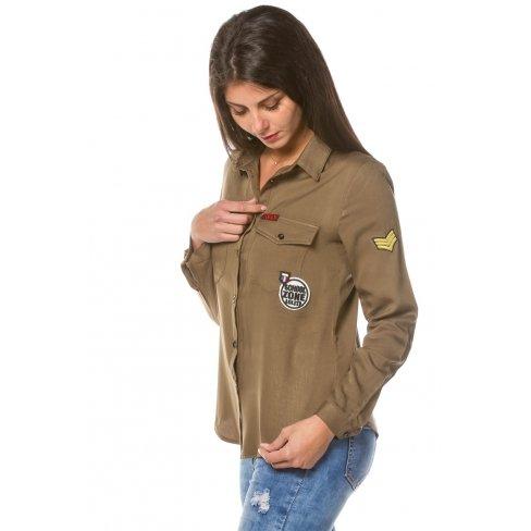 Princesse boutique - Chemise cargo kaki à écussons Vert